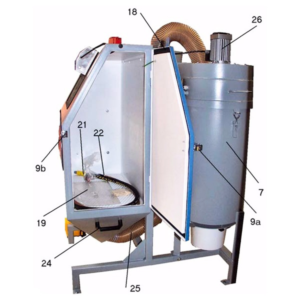 the typical design of pressure blast cabinet are shown at the picture below